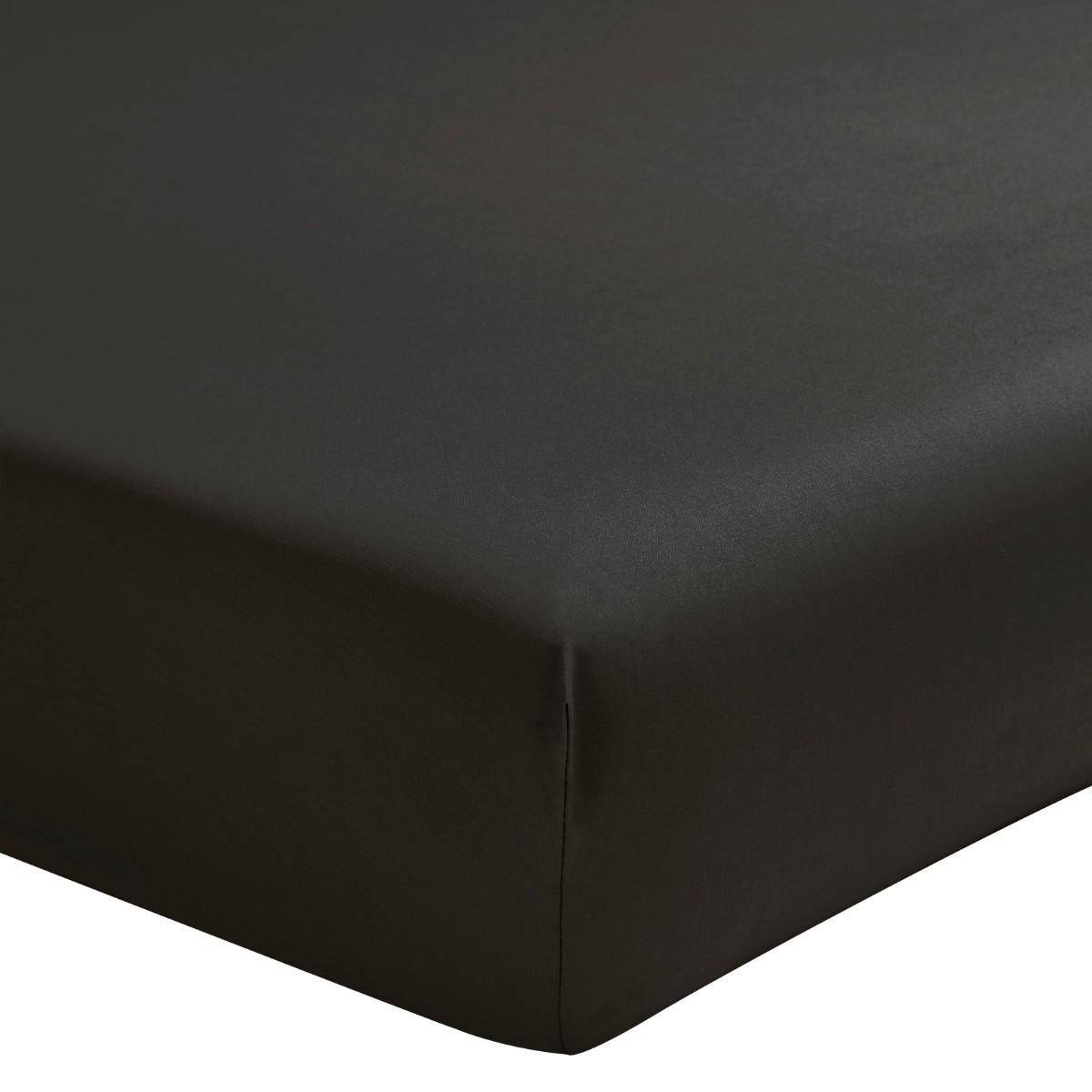 Drap housse uni en percale de coton gris 140x200