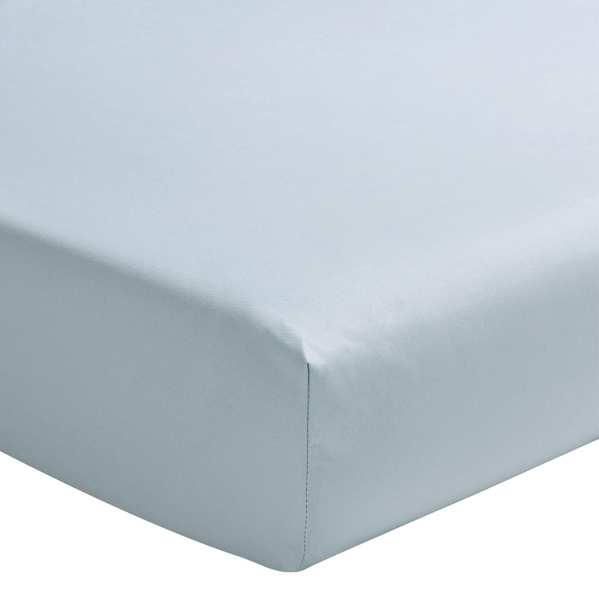 Drap housse uni en percale de coton bleu 2x80x200