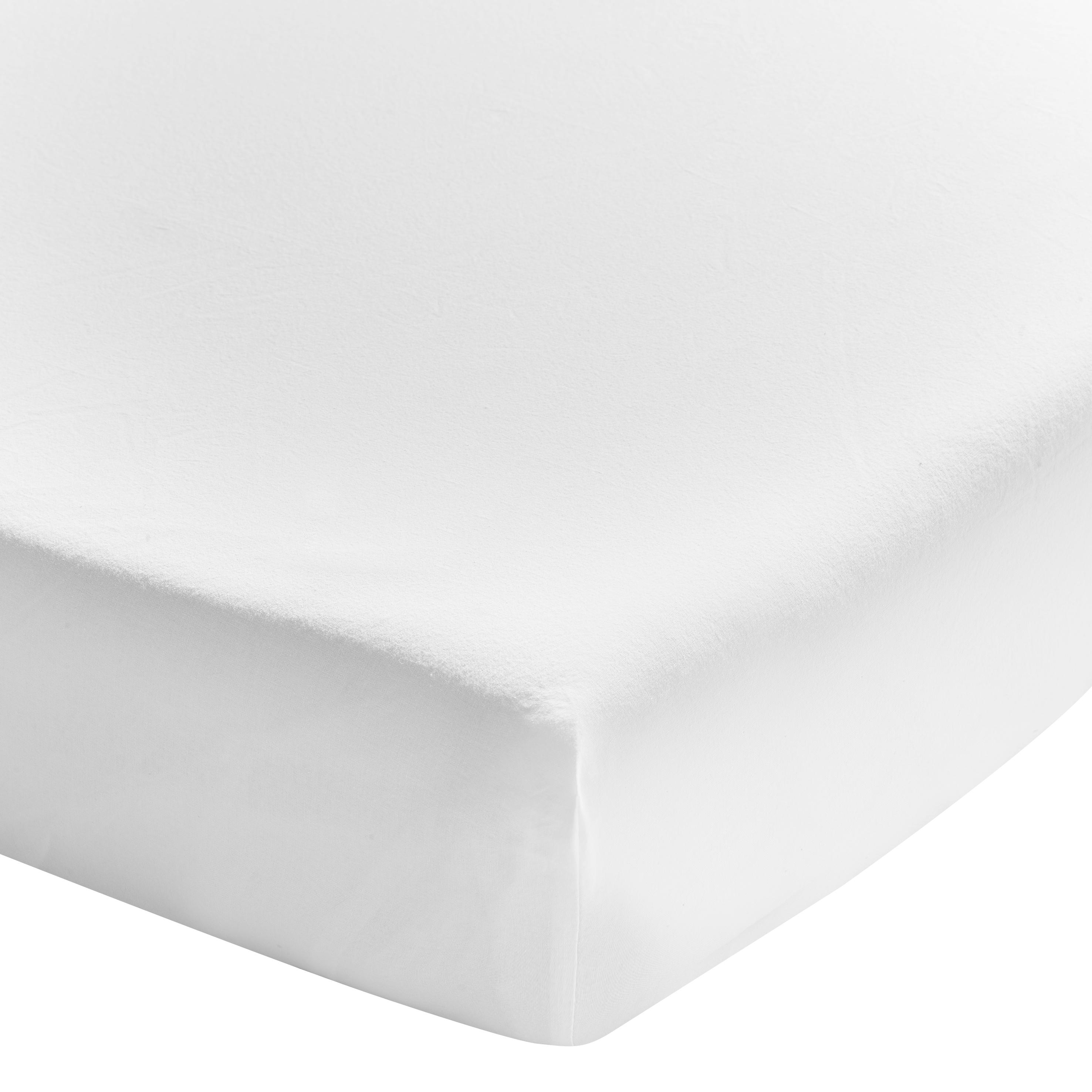 Drap housse uni en coton lavé blanc 90x200
