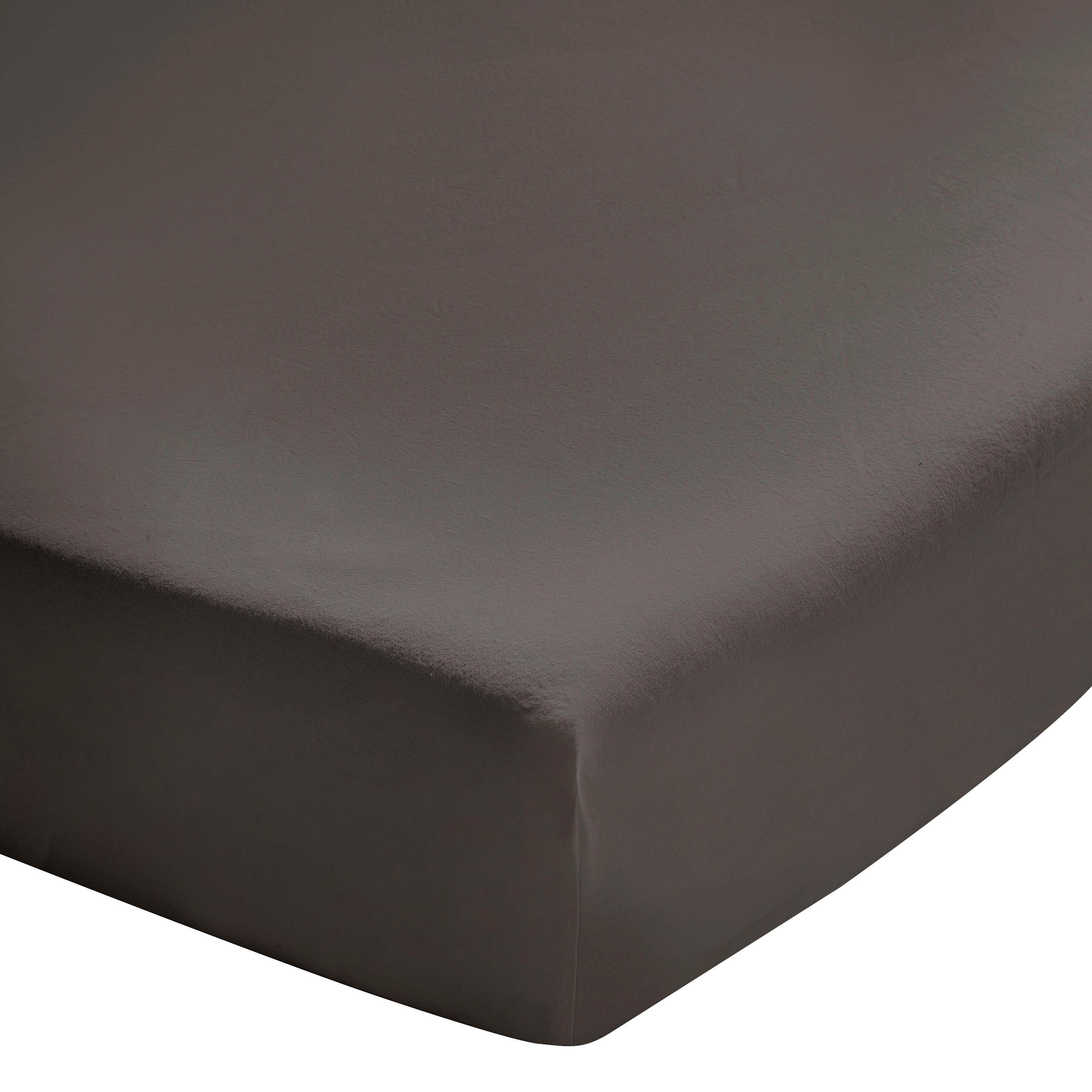 Drap housse zinc en coton lavé gris foncé Zinc 140x200