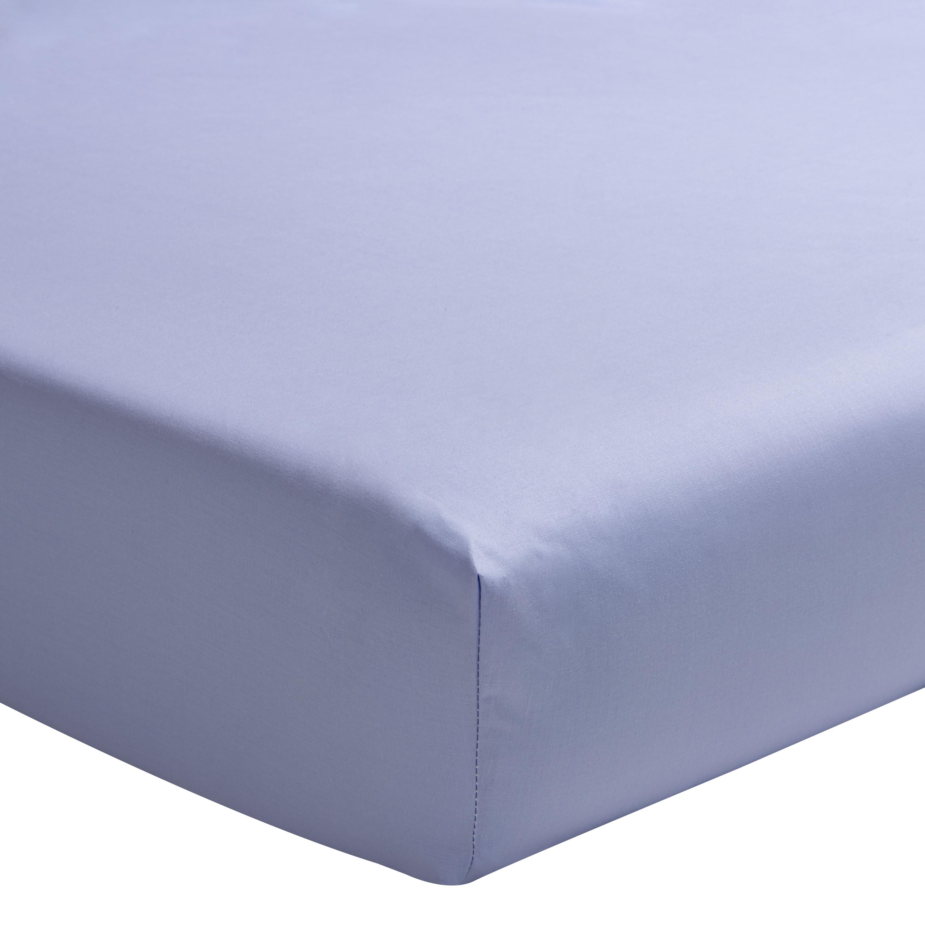 Drap housse uni en percale de coton bleu  90x220