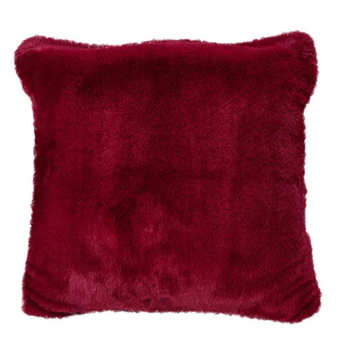 Housse de coussin en imitation fourrure polyester griotte 45x45