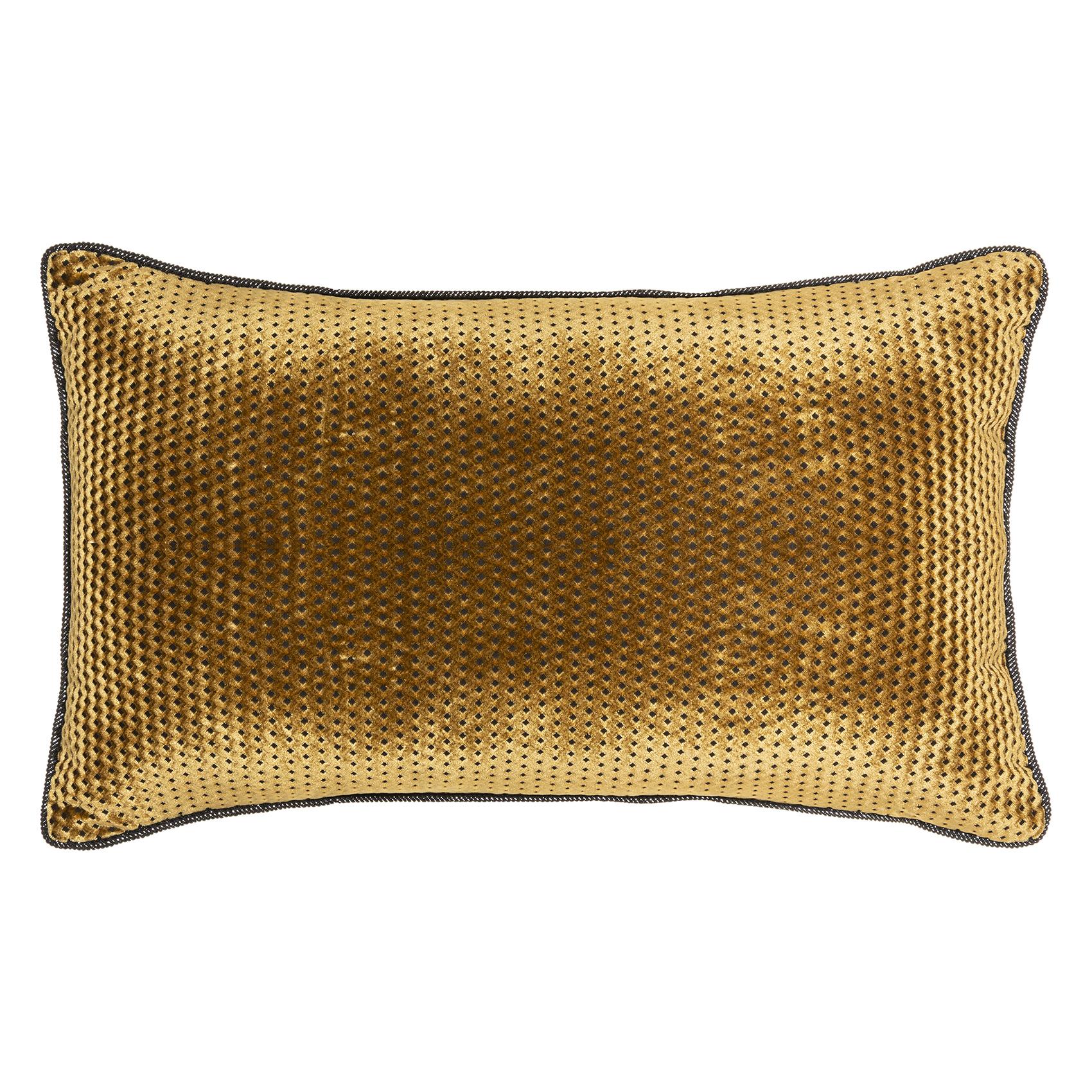 Coussin en velours à motifs graphiques polyester or 50x30