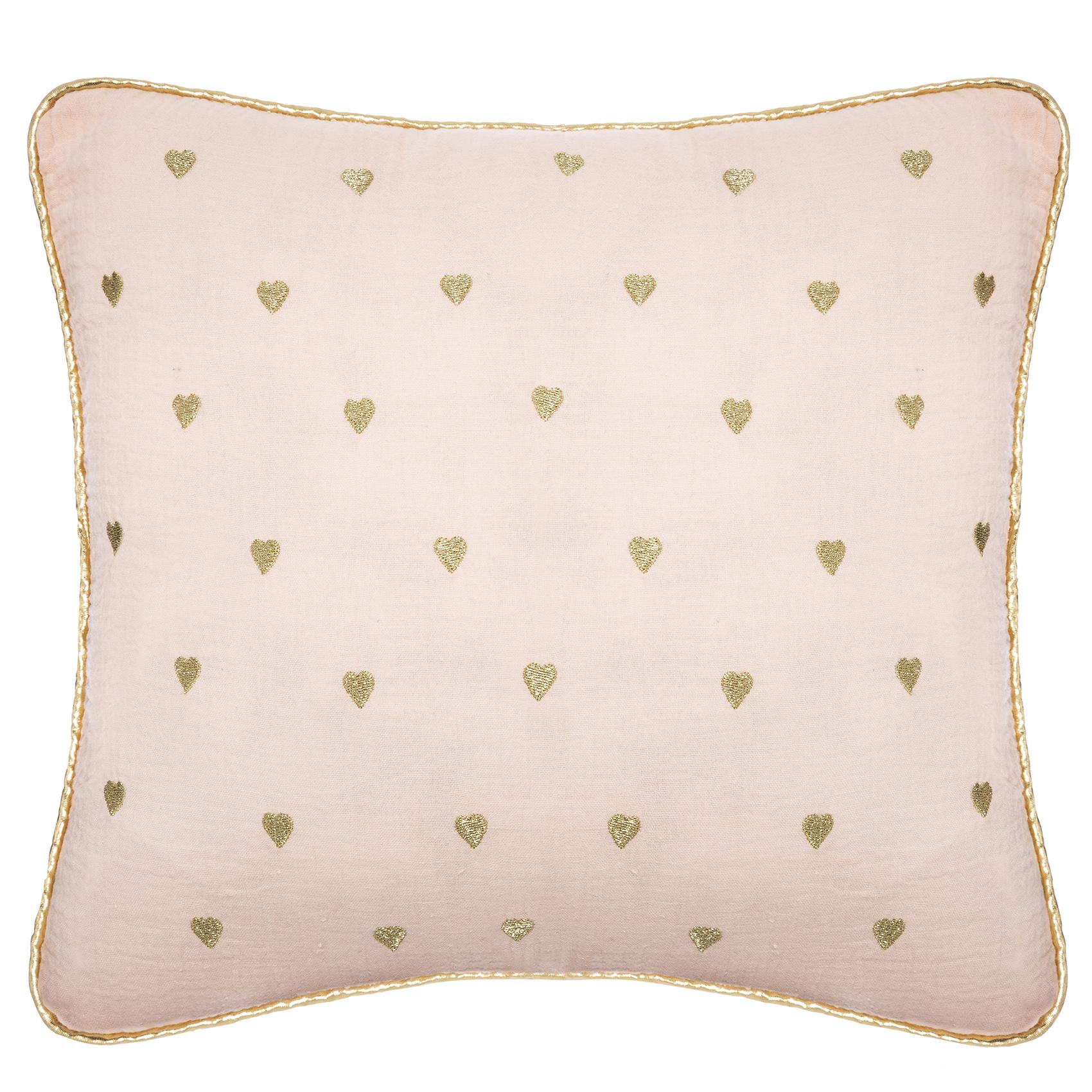 Coussin en gaze de coton motifs cœurs coton rose 40x40