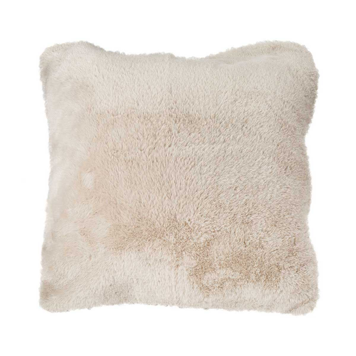Housse de coussin en imitation fourrure polyester galet 45x45