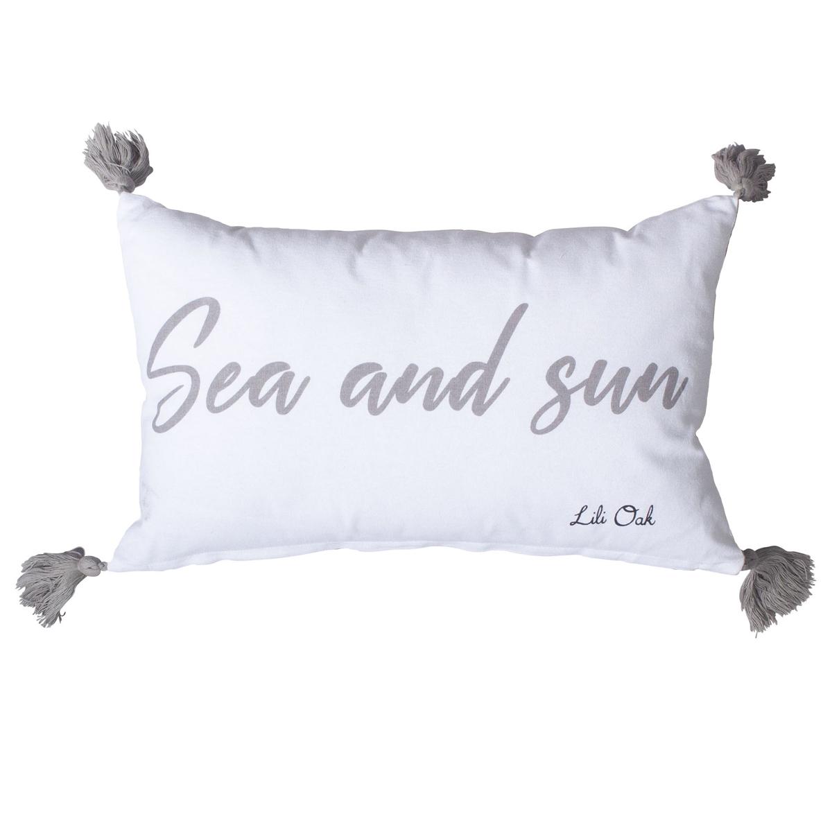 Coussin summer déhoussable avec pompons coton gris 50x30