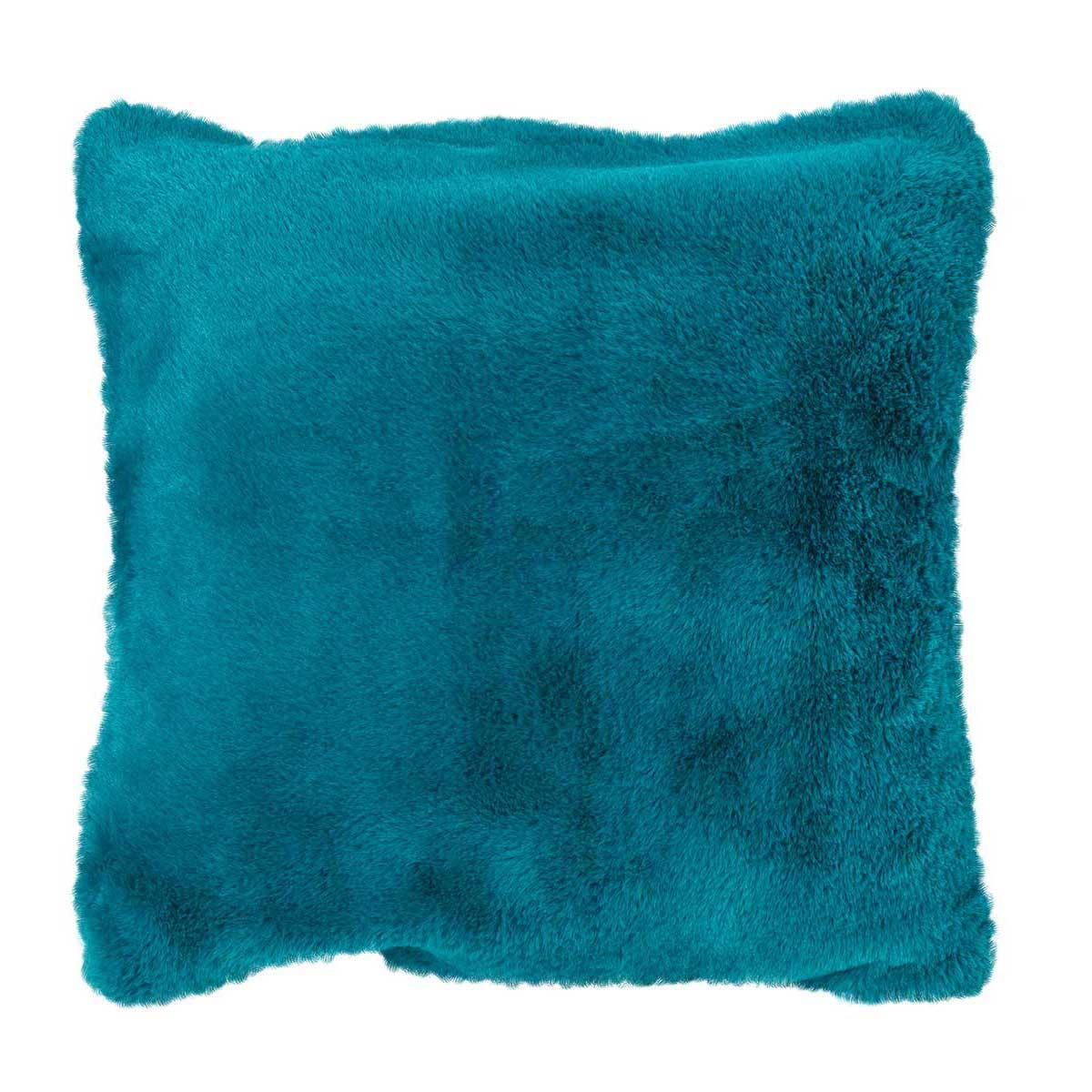 Housse de coussin en imitation fourrure polyester bleu paon 45x45