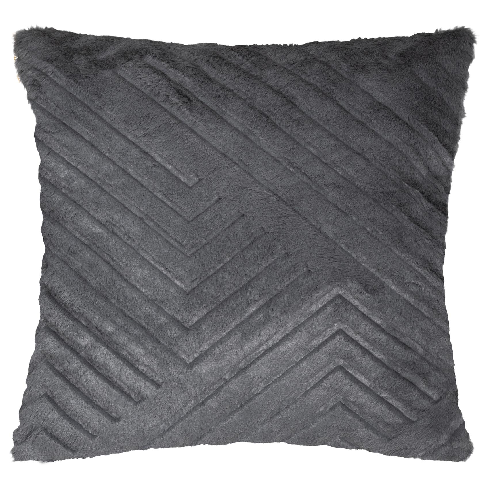 Coussin déhoussable effet fourrure polyester gris 45x45