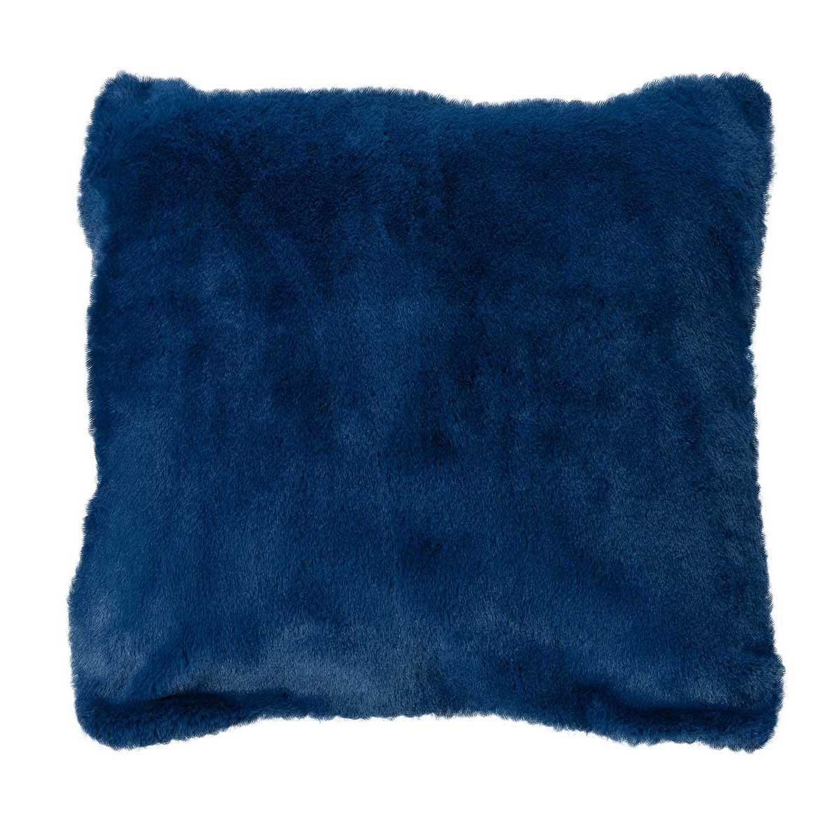 Housse de coussin en imitation fourrure polyester minuit 45x45