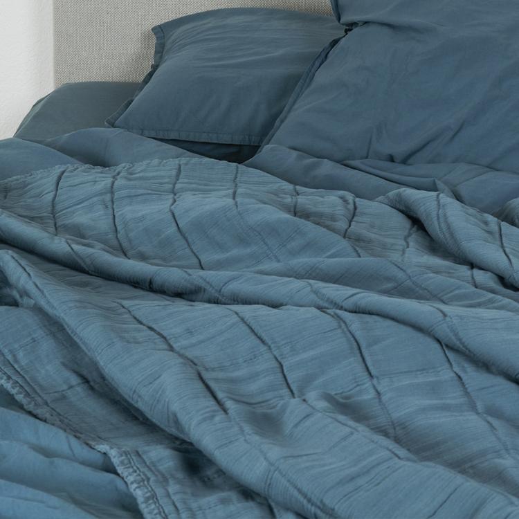 Plaid gaze de coton bleu canard 125*160
