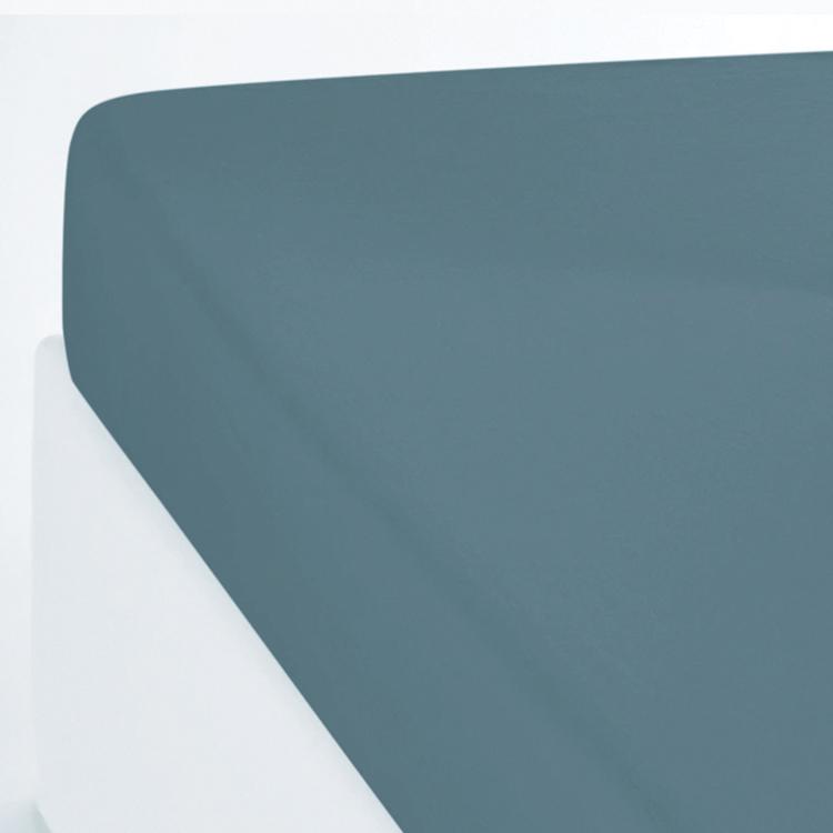 Drap housse coton lavé bleu canard 140x200