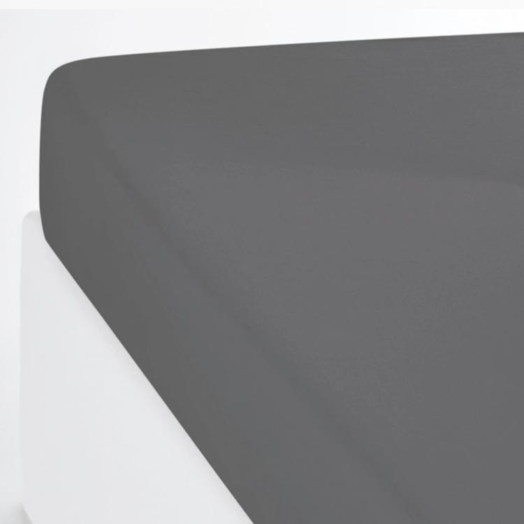 Drap housse coton lavé gris anthracite 140x200