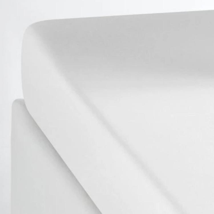 Drap housse coton lavé blanc 90x200