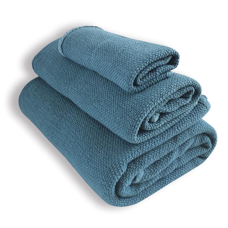 Lot de 3 serviettes bleu canard 30X50, 50X100, 90X160