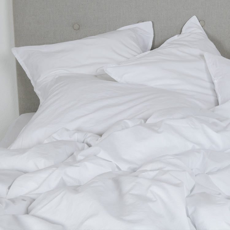 Housse de couette coton lavé blanc 140x200