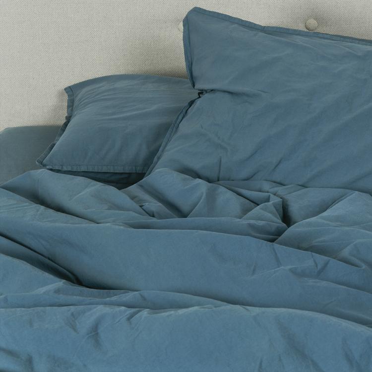 Housse de couette coton lavé bleu canard 140x200