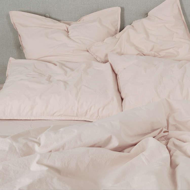 Housse de couette coton lavé rose nude 140x200