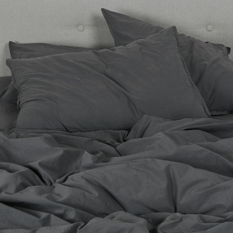 Housse de couette coton lavé gris anthracite 140x200