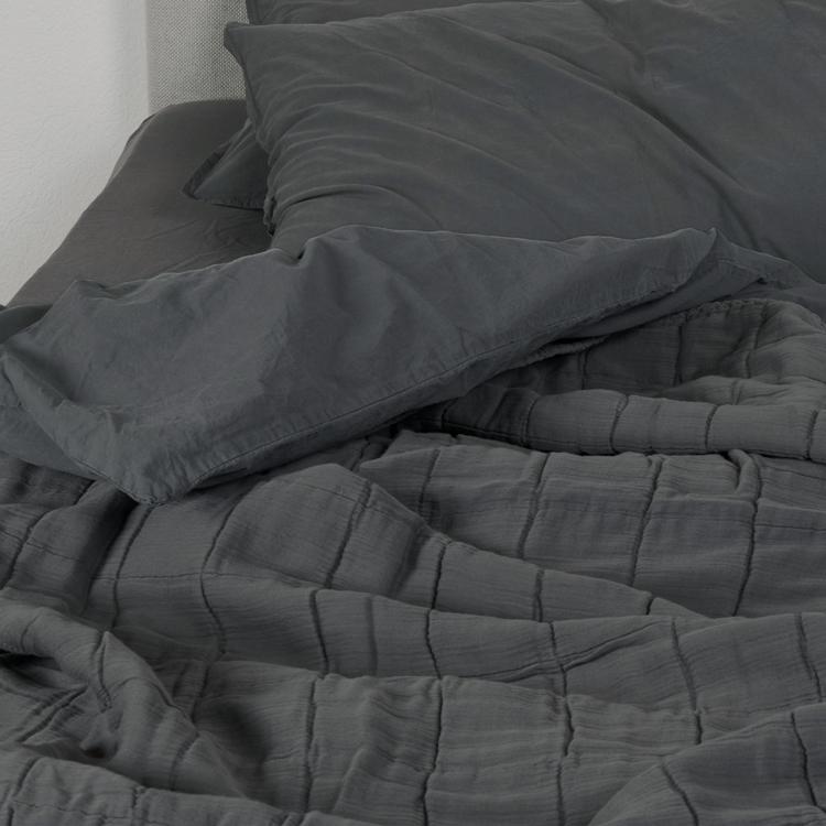 Couvre-lit gaze de coton gris anthracite 230x250