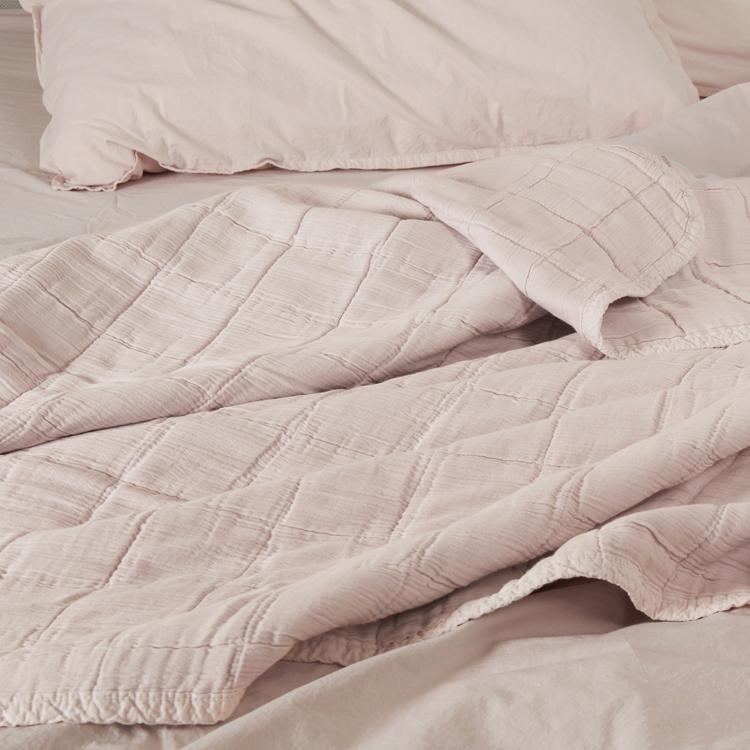 Couvre-lit gaze de coton rose nude 140x250