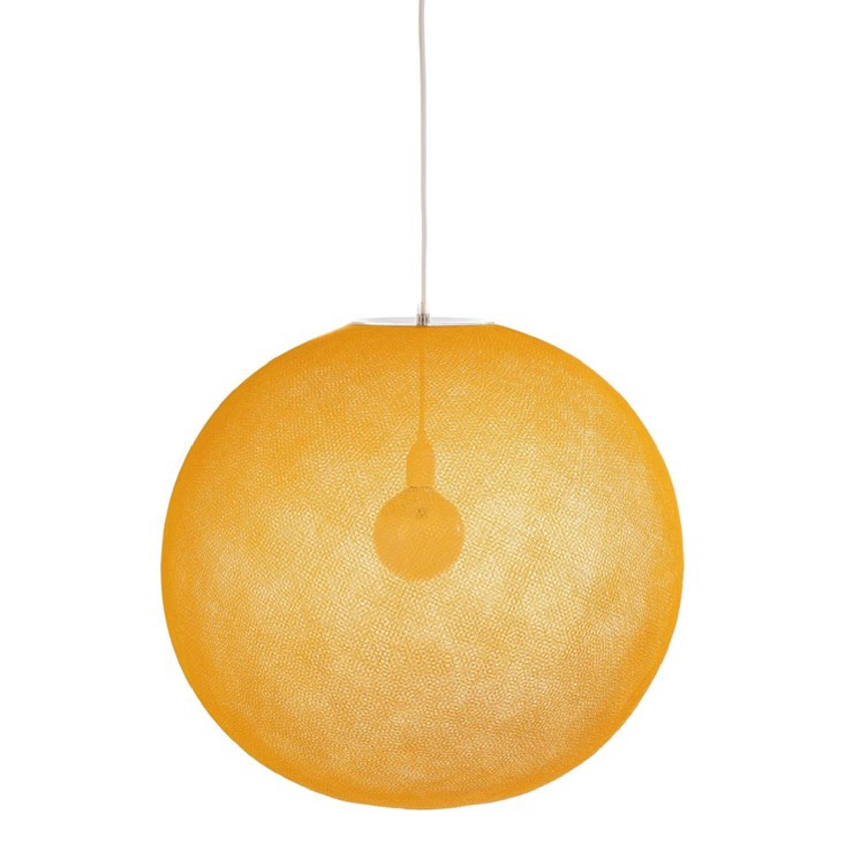 Suspension globe fil tissé jaune D67cm