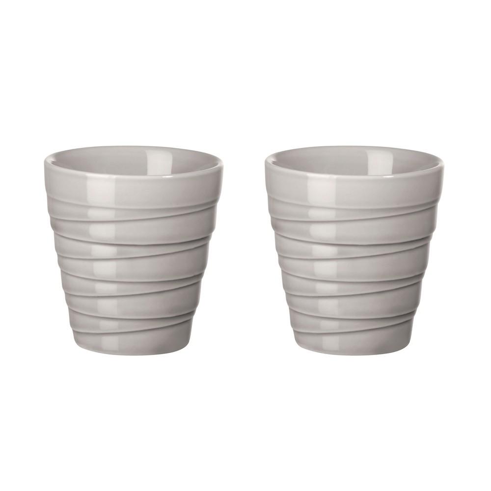 Set de 2 tasses en porcelaine grise 0,08l