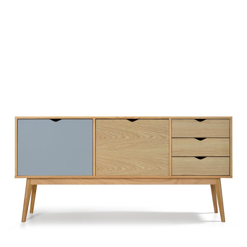 Buffet design 2 portes 3 tiroirs chêne bleu fumée