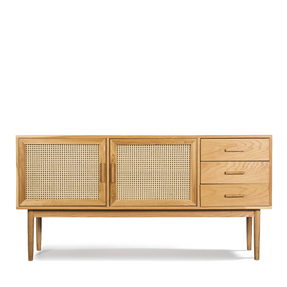 Buffet 2 portes 3 tiroirs bois et cannage chêne