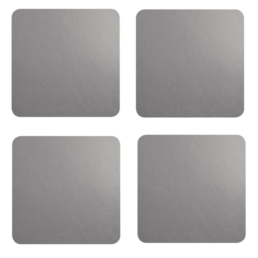 Lot de 4 dessous de verres aspect cuir gris