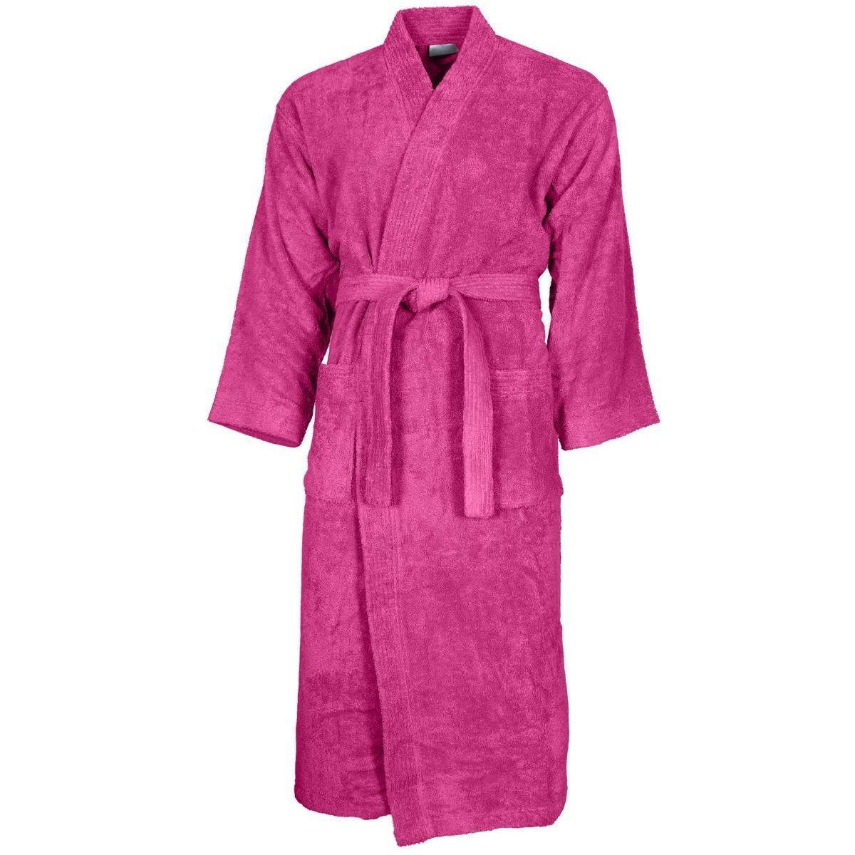 Peignoir col kimono Rose Indien S