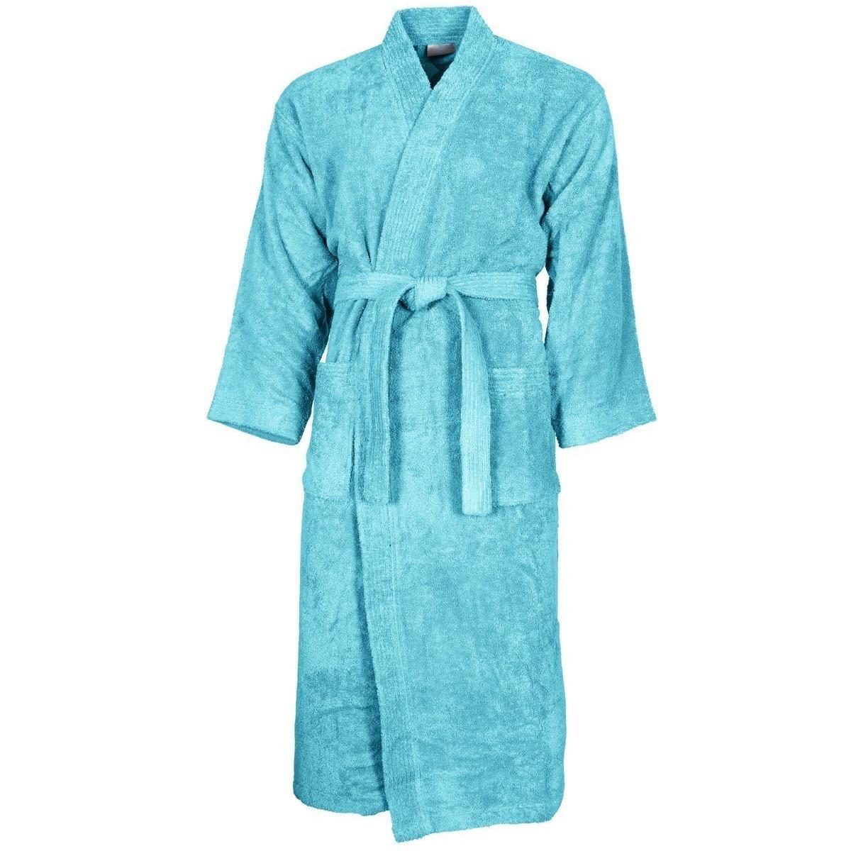 Peignoir col kimono Bleu Turquoise XL