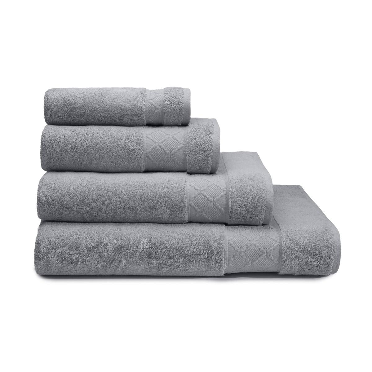 Drap de douche uni en 100% coton gris 70x140