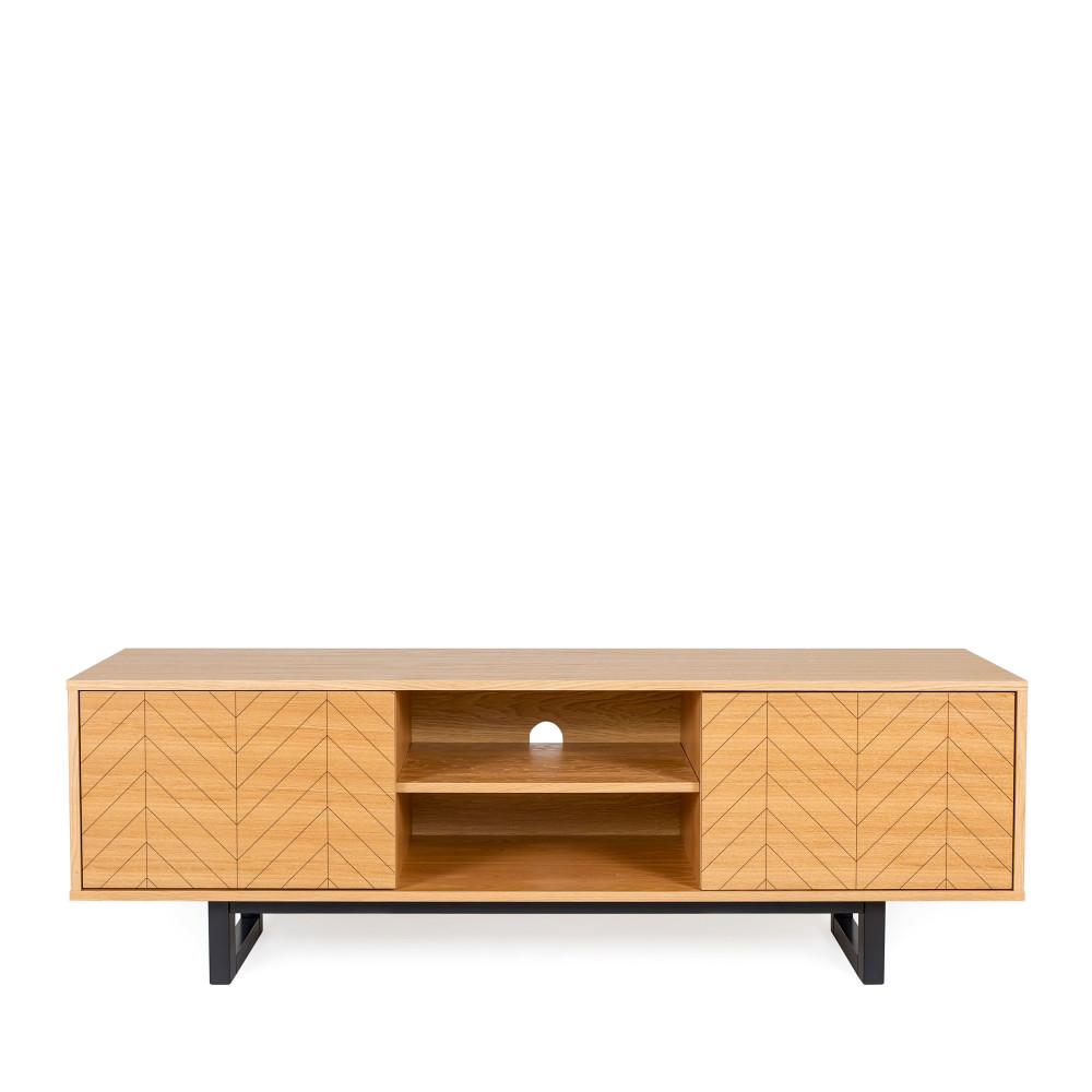 maison du monde Meuble TV contemporain bois motifs chevrons chêne