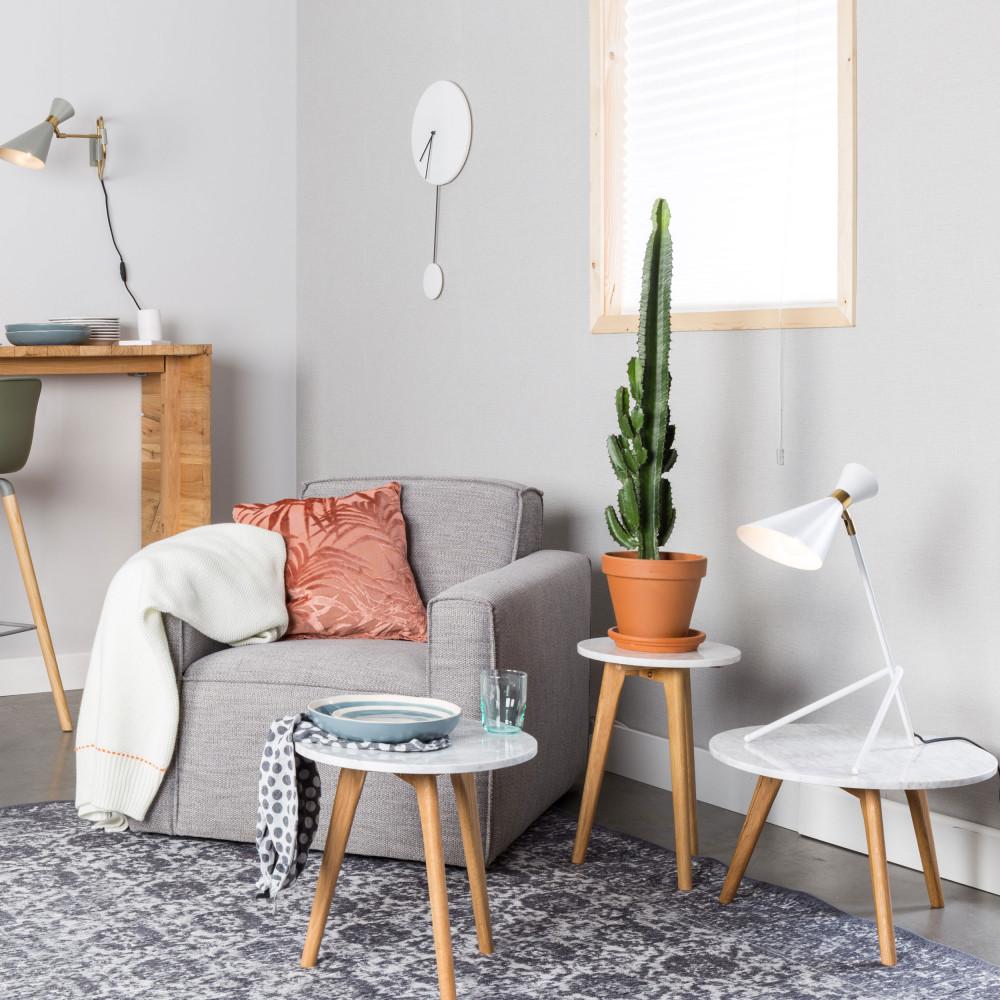 Table basse ronde bois et marbre S blanc  et  chêne