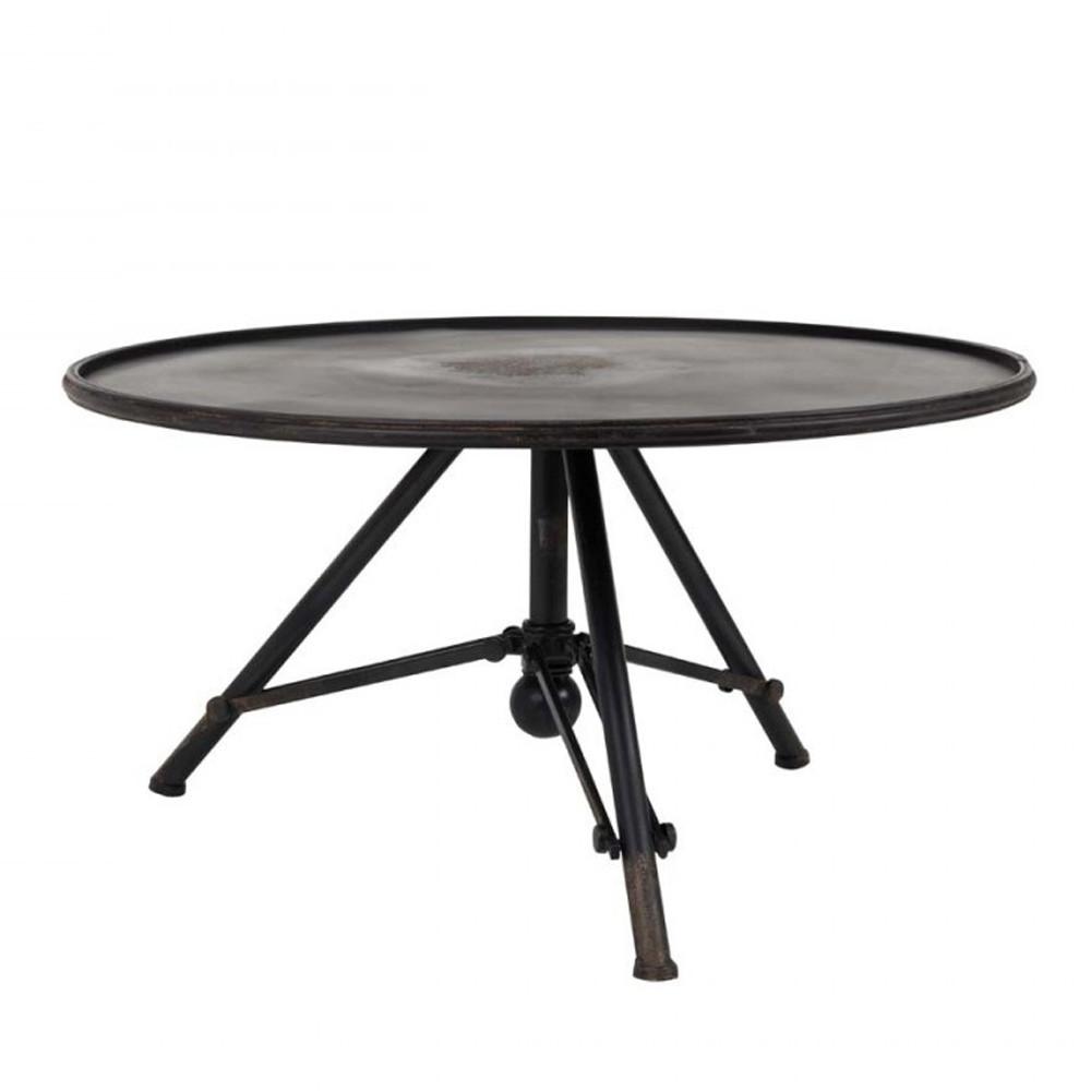 Table basse métal ronde industrielle gris
