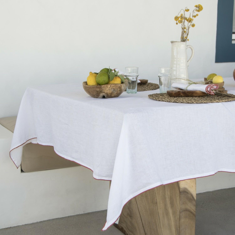 Nappe en lin lavé 150x250 Blanc et terracotta