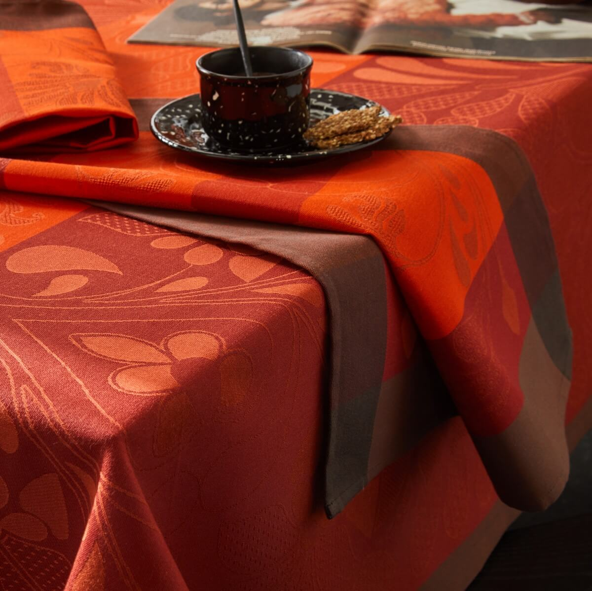 Serviette de table en 100% coton orange 58x58