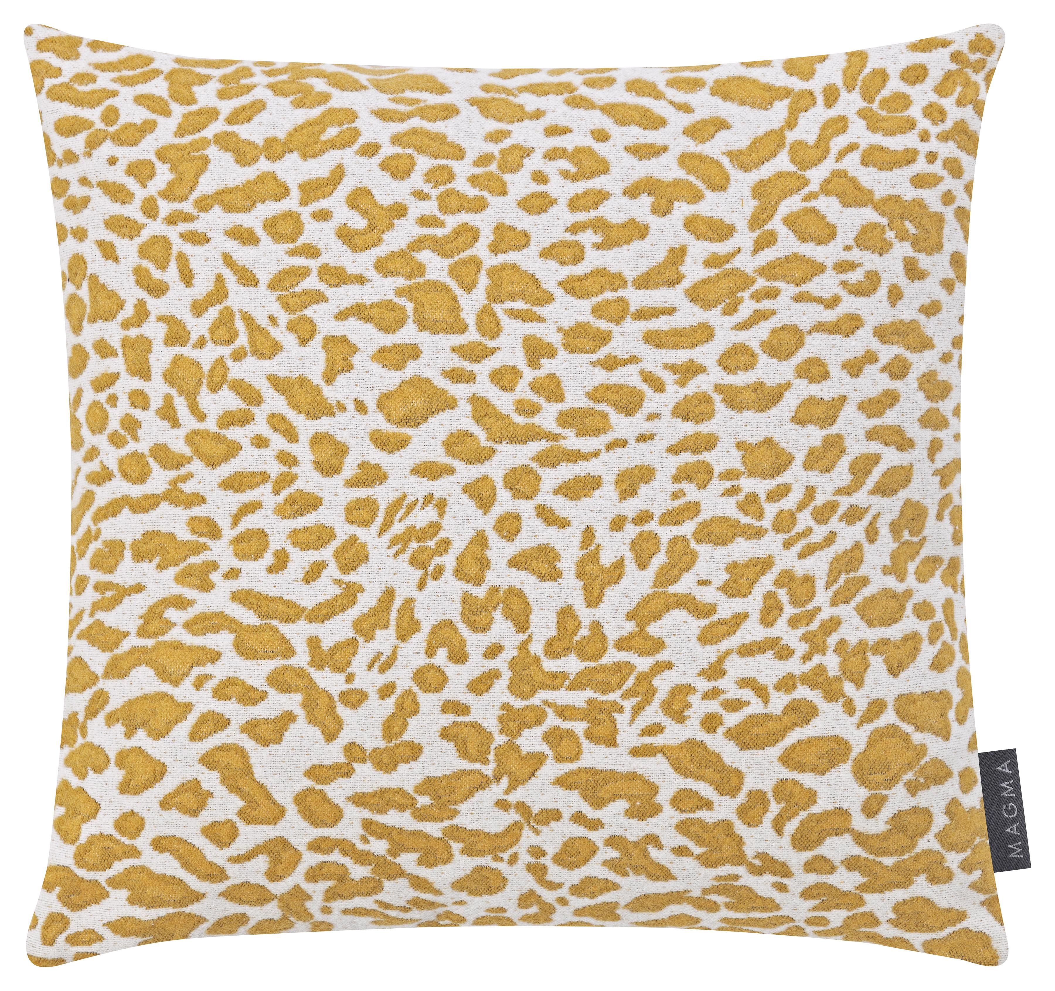2 Housses de coussins jacquard motif léopard jaune 40x40 - Lot de 2
