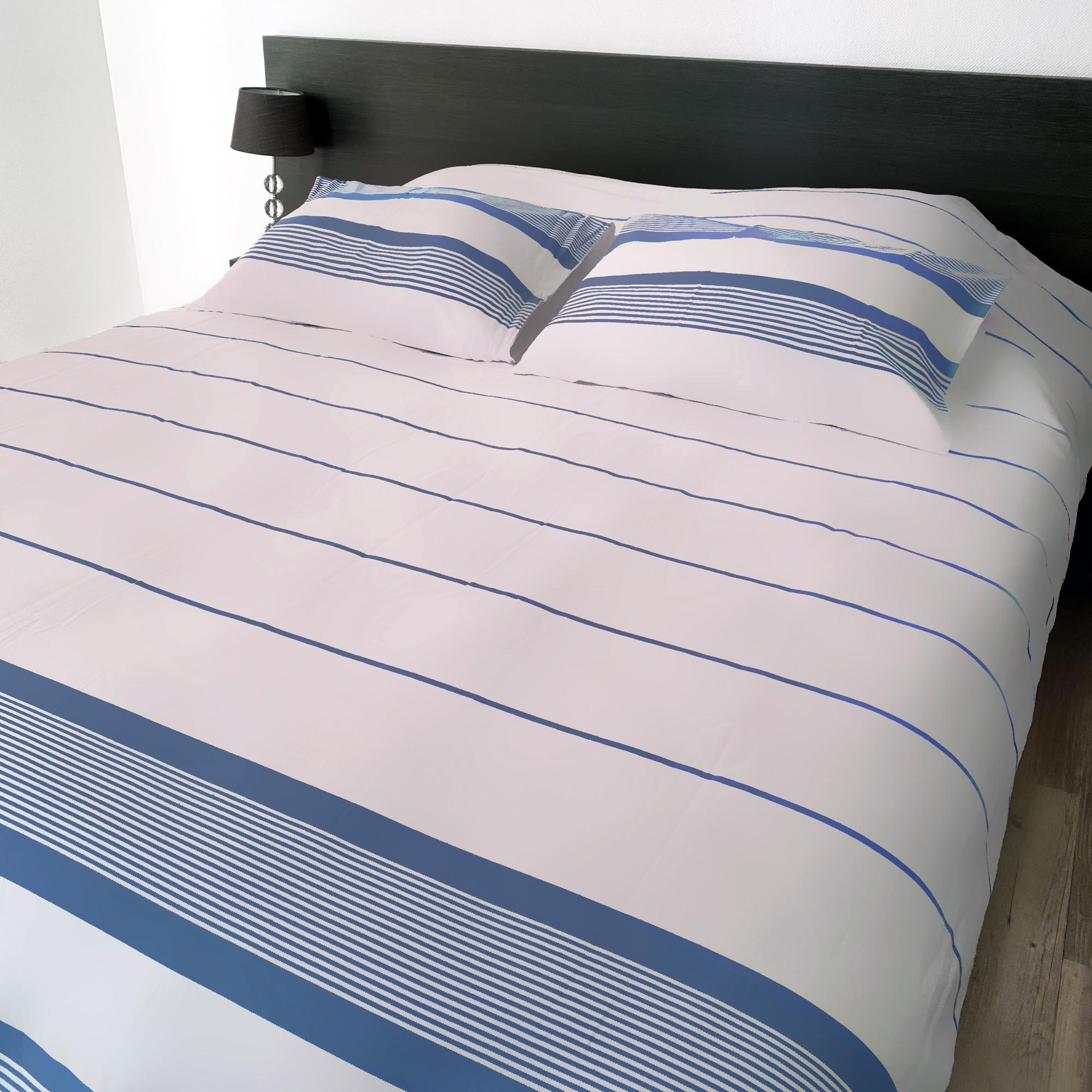 Housse de couette coton 220x240 + 2 taies 50x70 bleu doux et blanche