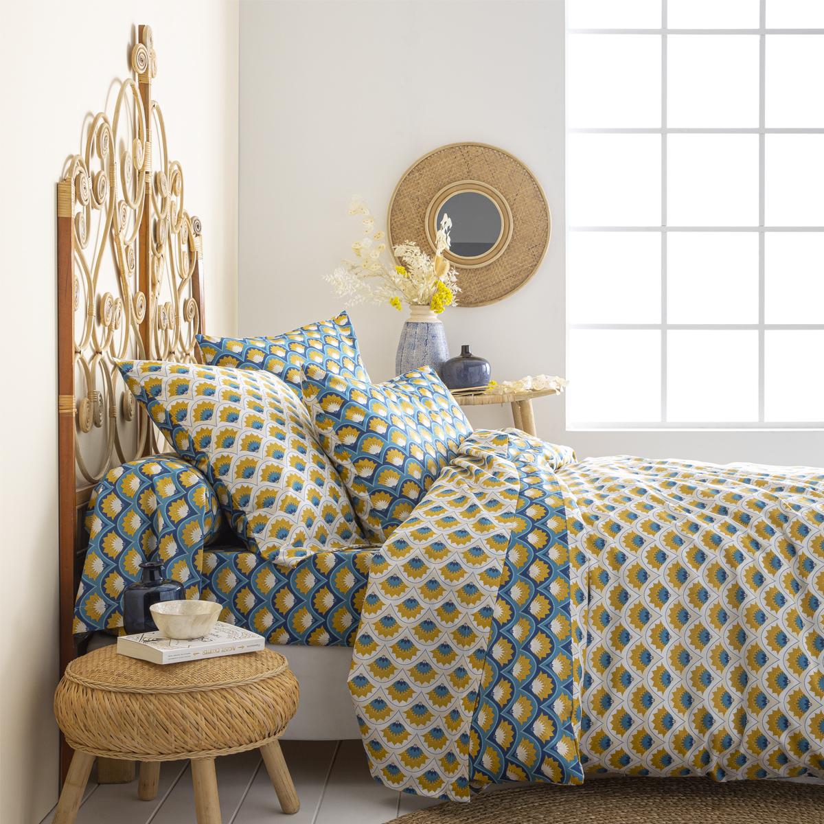 Parure de lit en lyocell bleu 260x240