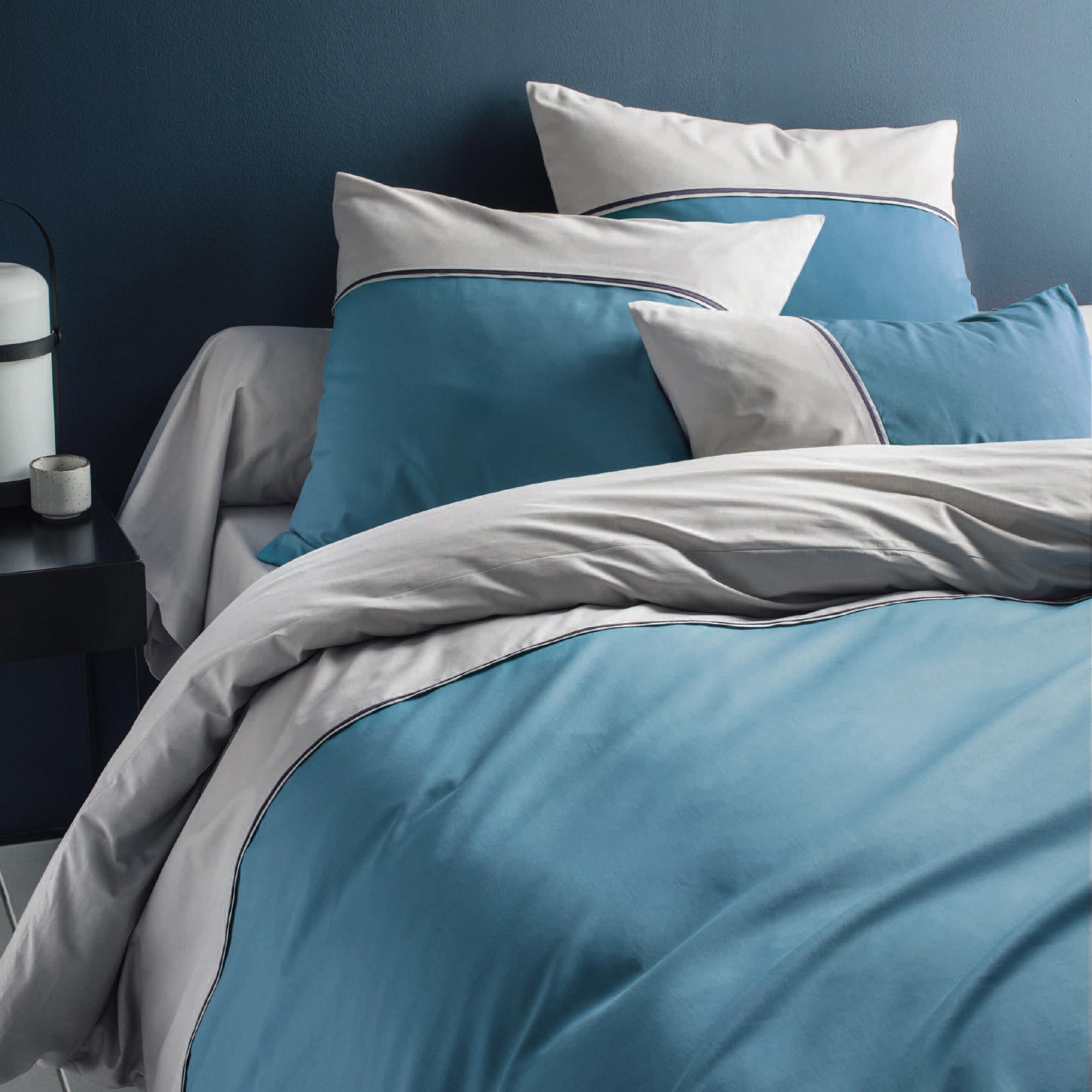 Parure de lit imprimée en coton turquoise 140x200