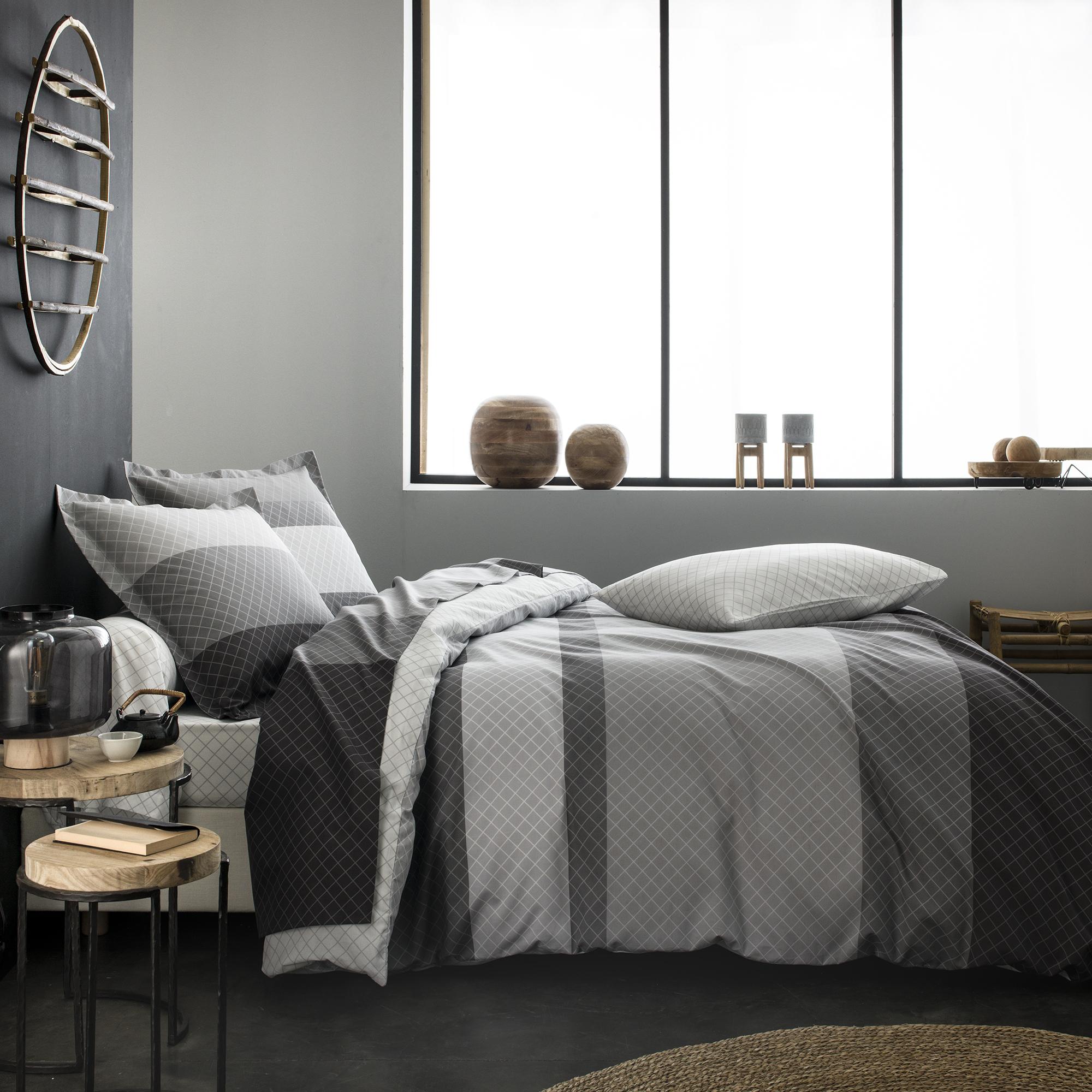 Parure de lit imprimée en lyocell gris 200x200