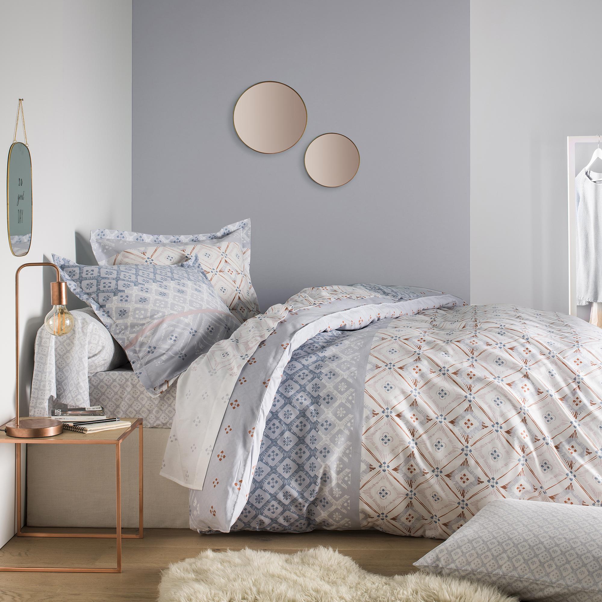 Parure de lit imprimée en bambou gris 240x260