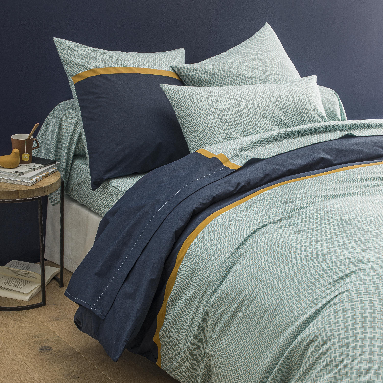 Parure de lit imprimée en lyocell bleu 140x200