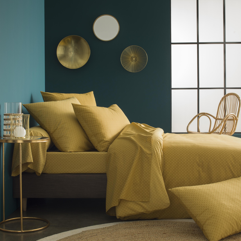 Parure de lit imprimée en bambou jaune curry 140x200