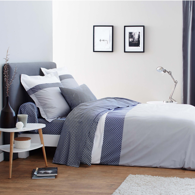 Parure de lit imprimée en bambou gris140x200