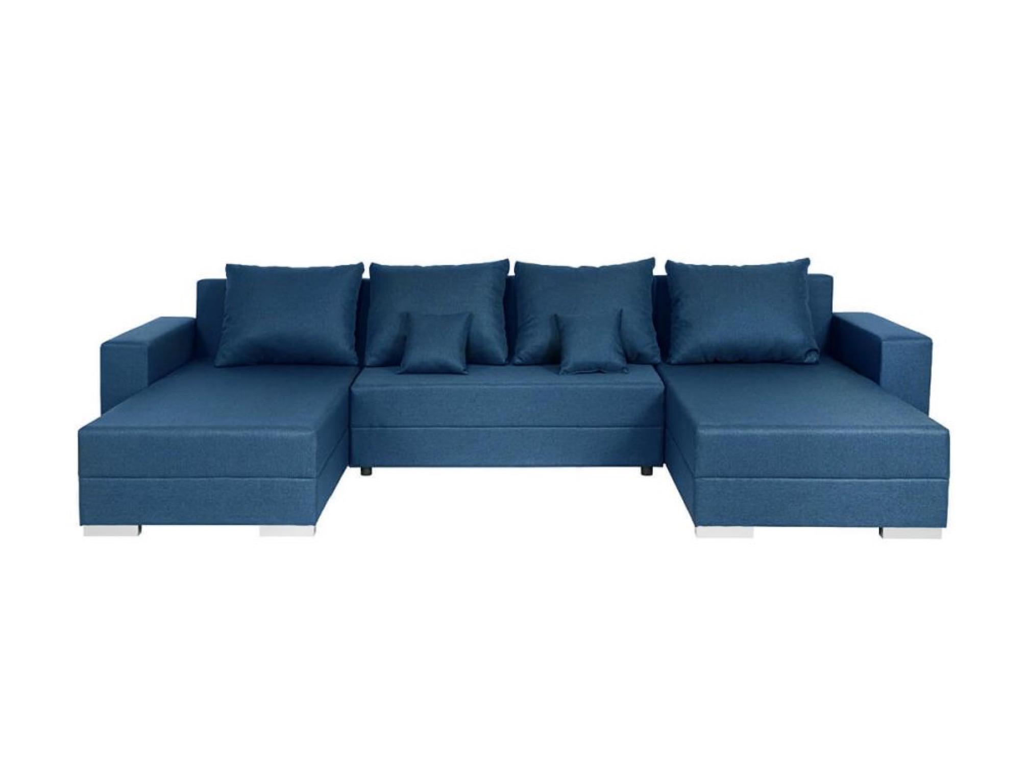 Canapé d'angle panoramique convertible en tissu bleu