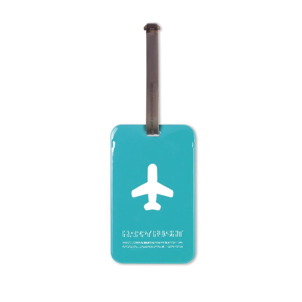 Etiquette bagage bleu