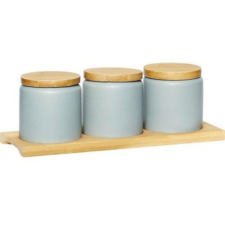 Pots avec couvercle en céramique grise