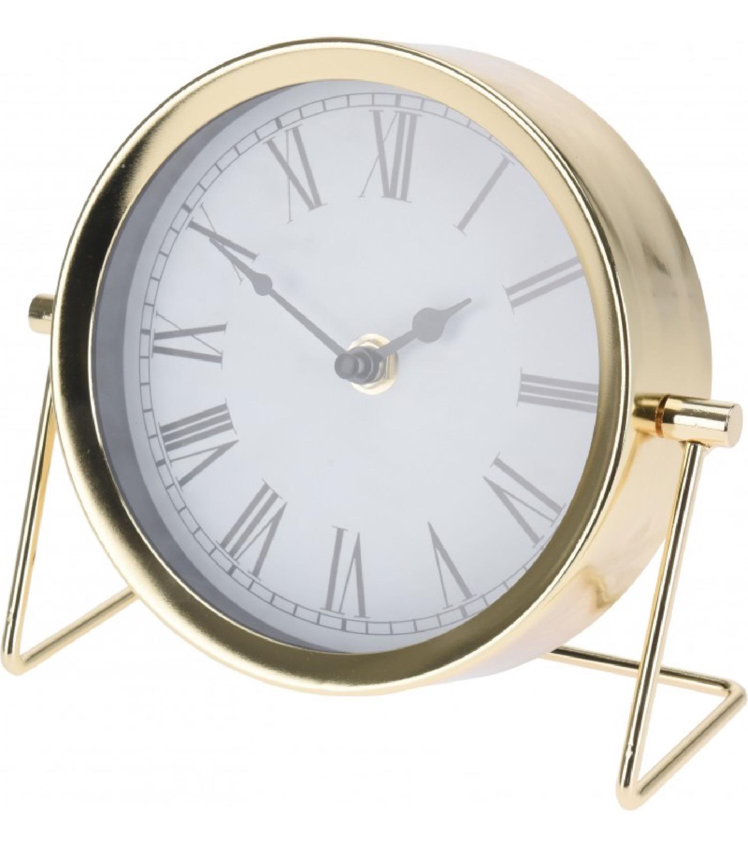 Horloge à poser en métal doré H16cm